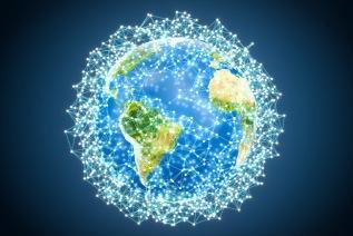 Abstract luminous globe Earth, 3D rendering